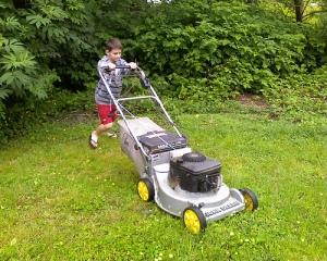 lawn mower kid