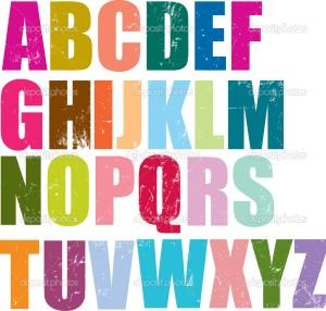 letterpress style alphabet