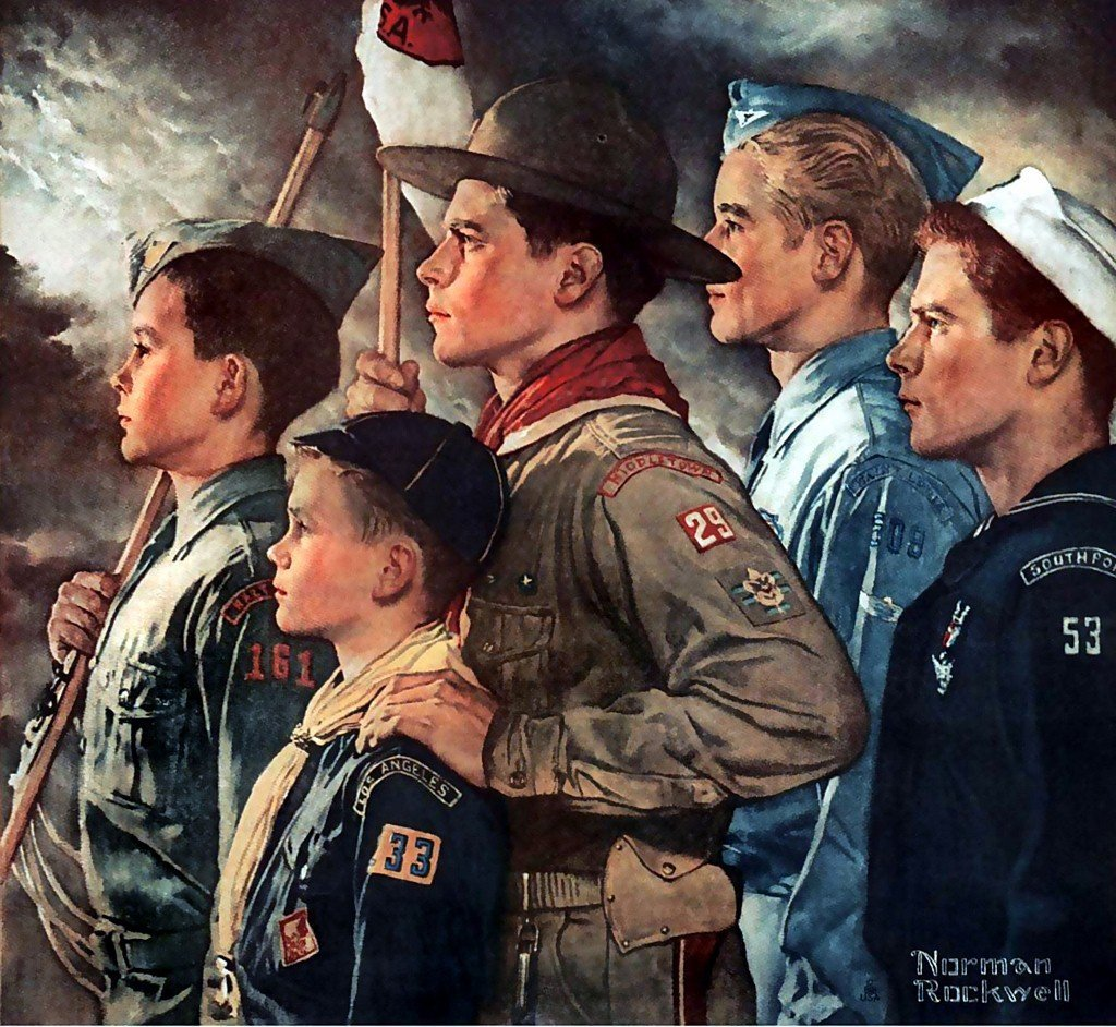 scouts boy rockwell norman america scout scouting print name 1951 paintings calendar its members removing boys cub eagle returnofkings prints