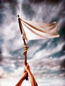 Surrendering with White Flag