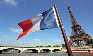 French Flag at The Eiffel Tower in Paris France