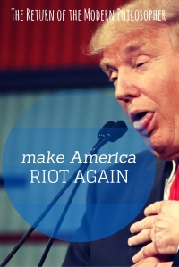 When Donald Trump says he wants to make America great again, is he referring to the good old days of rioting, racism, and hatred? That's not an America I want, so Trump is not the leader for me!
