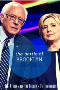 Bernie Sanders and Hillary Clinton faced off in the ninth Democratic Debate last night in Brooklyn.  I was left feeling the Bern for sure, Modern Philosophers!