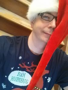 It's me in a Santa Claus hat, which is weird since it's May!
