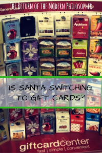 Santa Claus, Christmas, The North Pole, gift cards, humor, satire, economy, Modern Philosopher